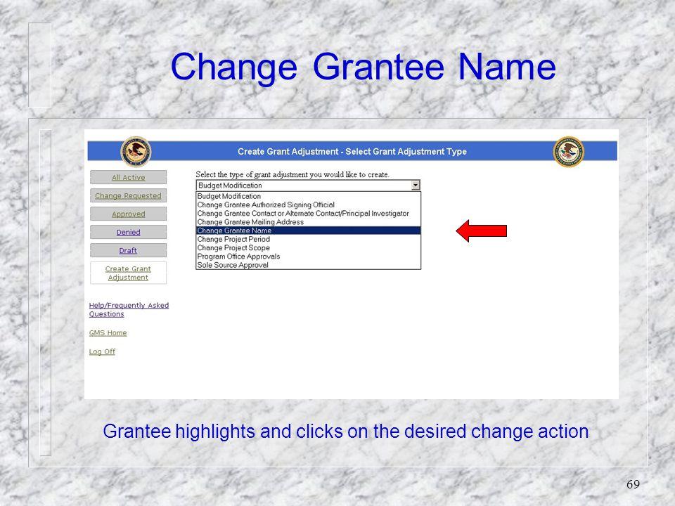 68 Change Grantee Name