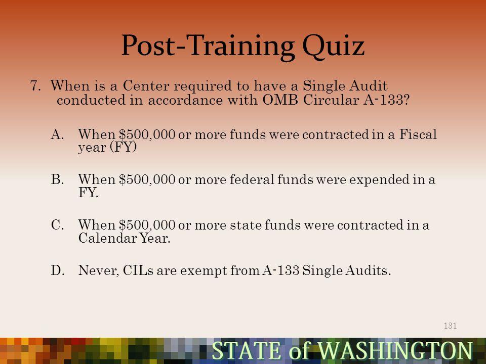 Post-Training Quiz 7.