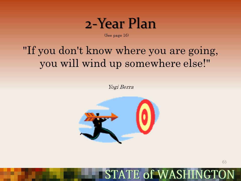If you don t know where you are going, you will wind up somewhere else! Yogi Berra 2-Year Plan 65 (See page 16)