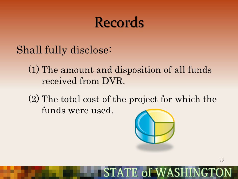 Records Shall fully disclose: (1)The amount and disposition of all funds received from DVR.