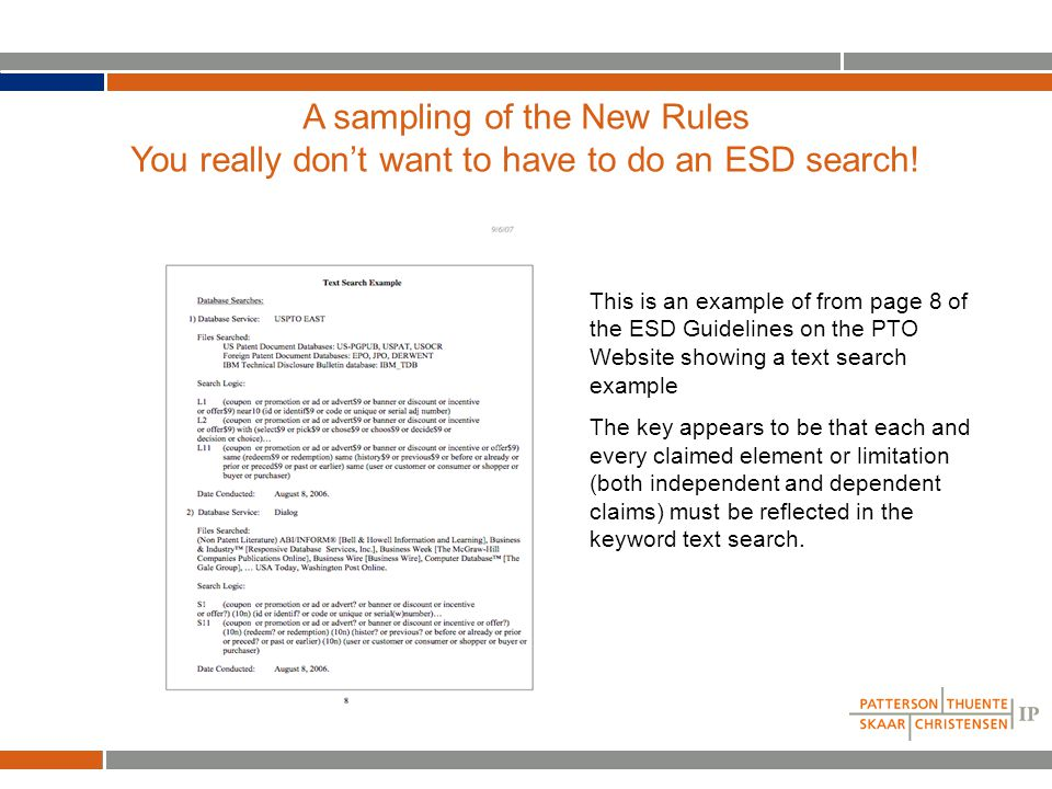 A sampling of the New Rules You really don't want to have to do an ESD search.