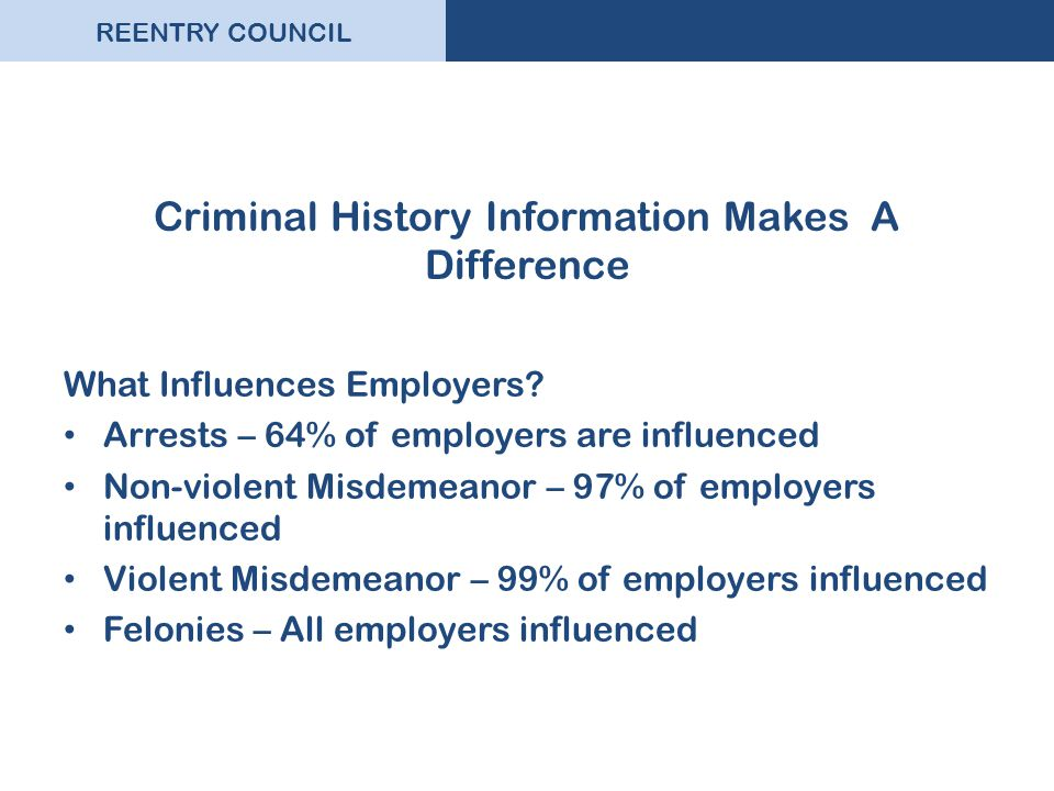 REENTRY COUNCIL Criminal History Information Makes A Difference What Influences Employers? Arrests – 64% of employers are influenced Non-violent Misde