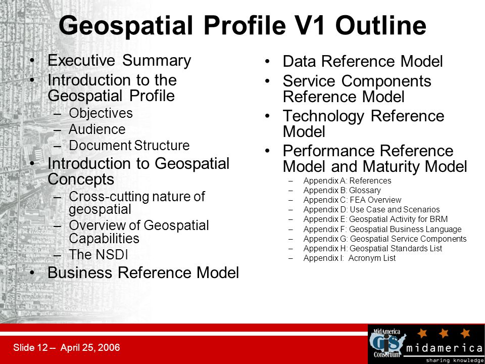 Slide 12 -- April 25, 2006 Geospatial Profile V1 Outline Executive Summary Introduction to the Geospatial Profile –Objectives –Audience –Document Stru