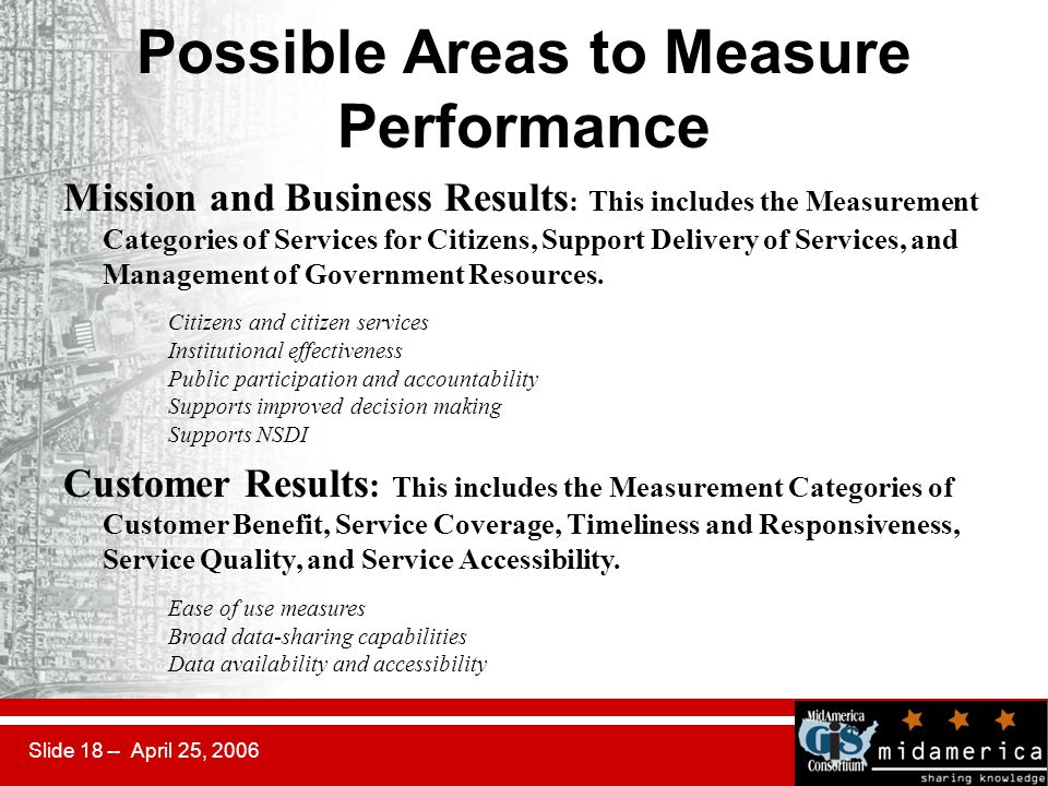 Slide 18 -- April 25, 2006 Possible Areas to Measure Performance Mission and Business Results : This includes the Measurement Categories of Services for Citizens, Support Delivery of Services, and Management of Government Resources.