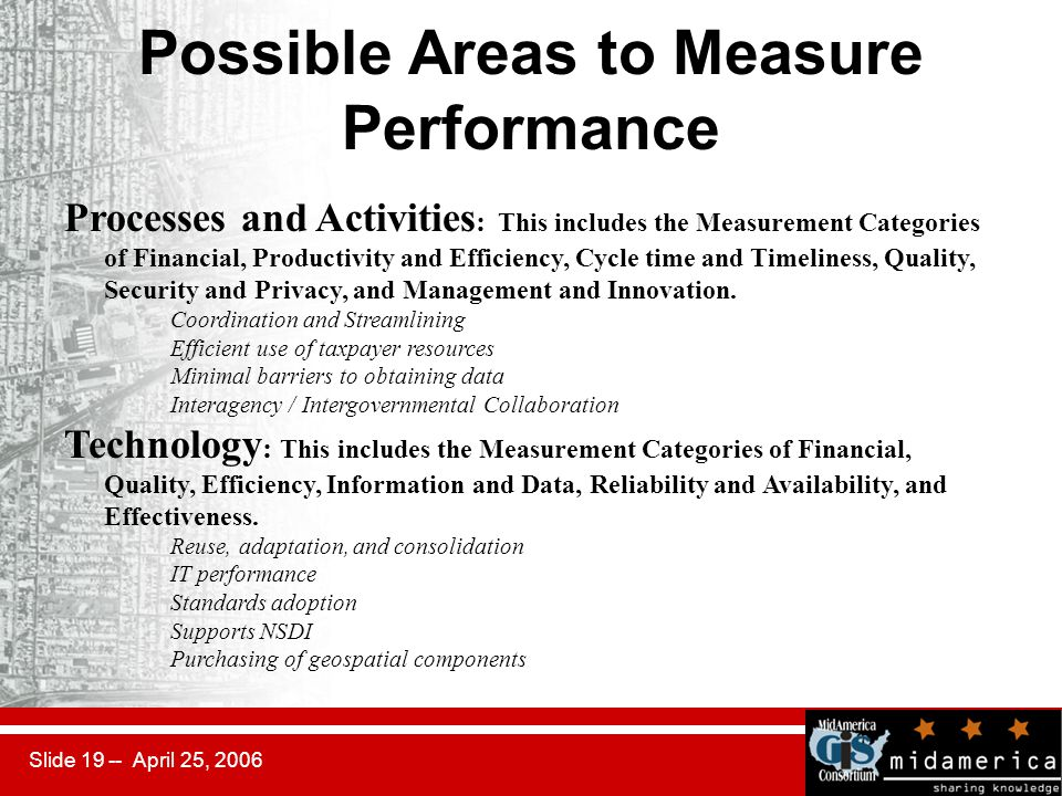 Slide 19 -- April 25, 2006 Possible Areas to Measure Performance Processes and Activities : This includes the Measurement Categories of Financial, Productivity and Efficiency, Cycle time and Timeliness, Quality, Security and Privacy, and Management and Innovation.