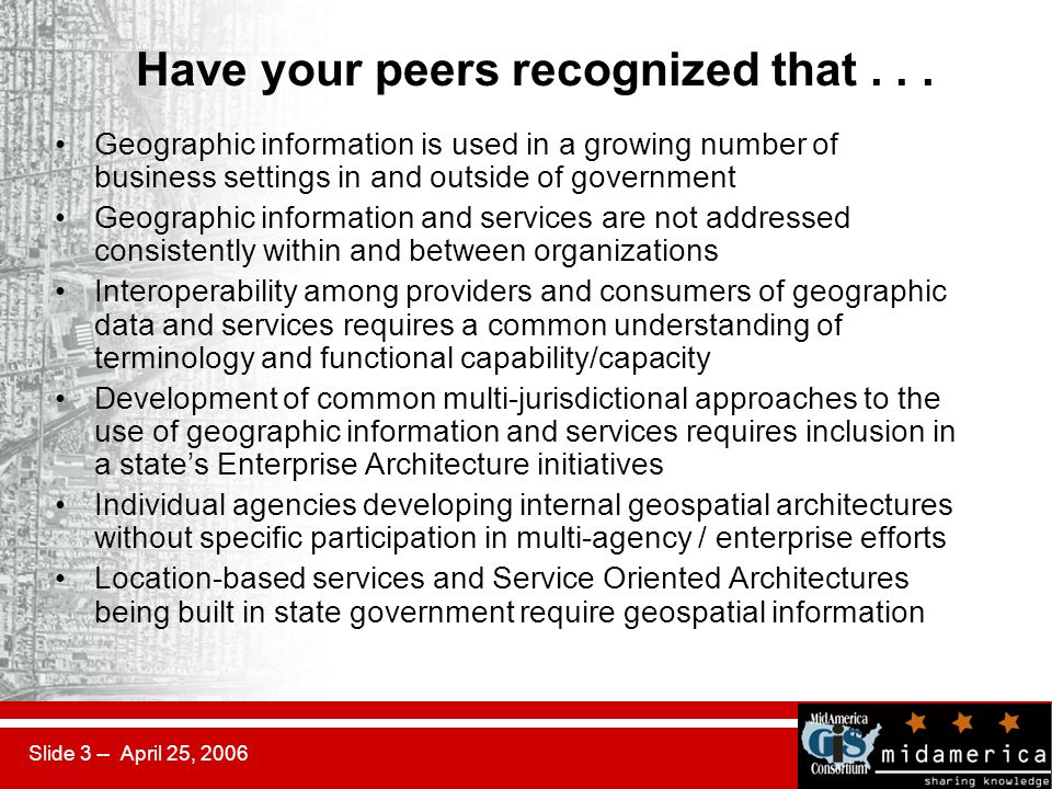 Slide 3 -- April 25, 2006 Have your peers recognized that... Geographic information is used in a growing number of business settings in and outside of