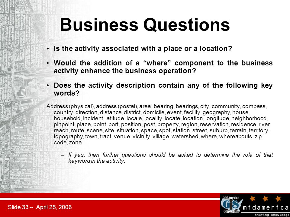 Slide 33 -- April 25, 2006 Business Questions Is the activity associated with a place or a location.