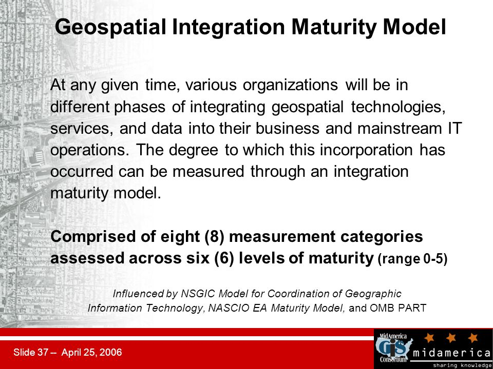 Slide 37 -- April 25, 2006 Geospatial Integration Maturity Model At any given time, various organizations will be in different phases of integrating geospatial technologies, services, and data into their business and mainstream IT operations.