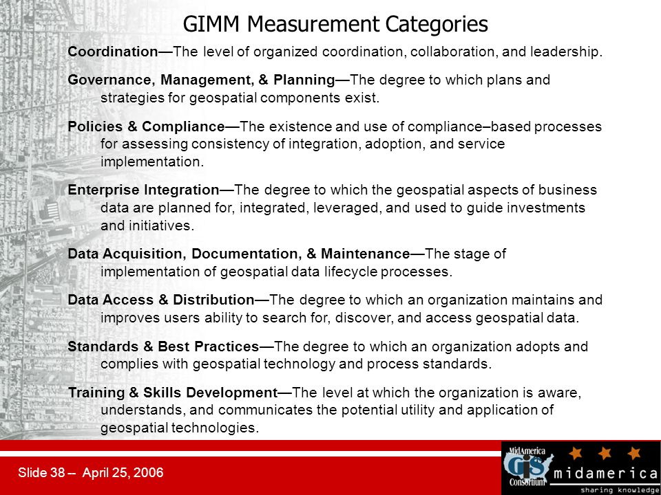 Slide 38 -- April 25, 2006 GIMM Measurement Categories Coordination—The level of organized coordination, collaboration, and leadership.