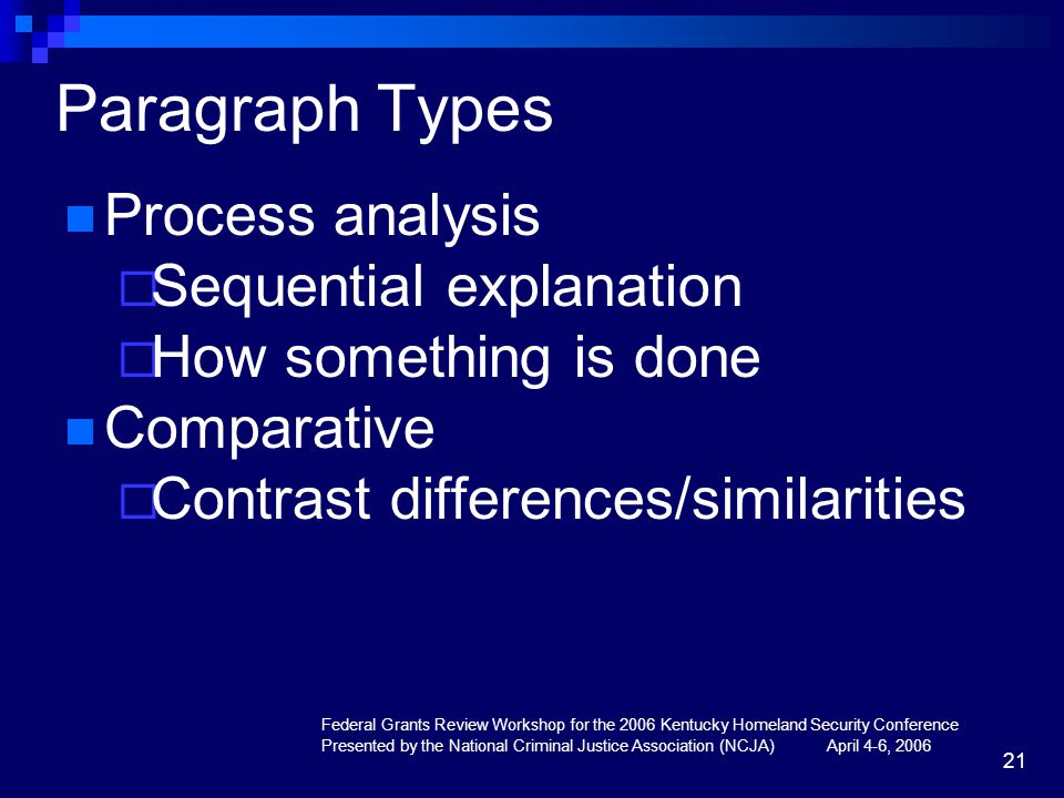 Federal Grants Review Workshop for the 2006 Kentucky Homeland Security Conference Presented by the National Criminal Justice Association (NCJA) April 4-6, 2006 21 Paragraph Types Process analysis  Sequential explanation  How something is done Comparative  Contrast differences/similarities