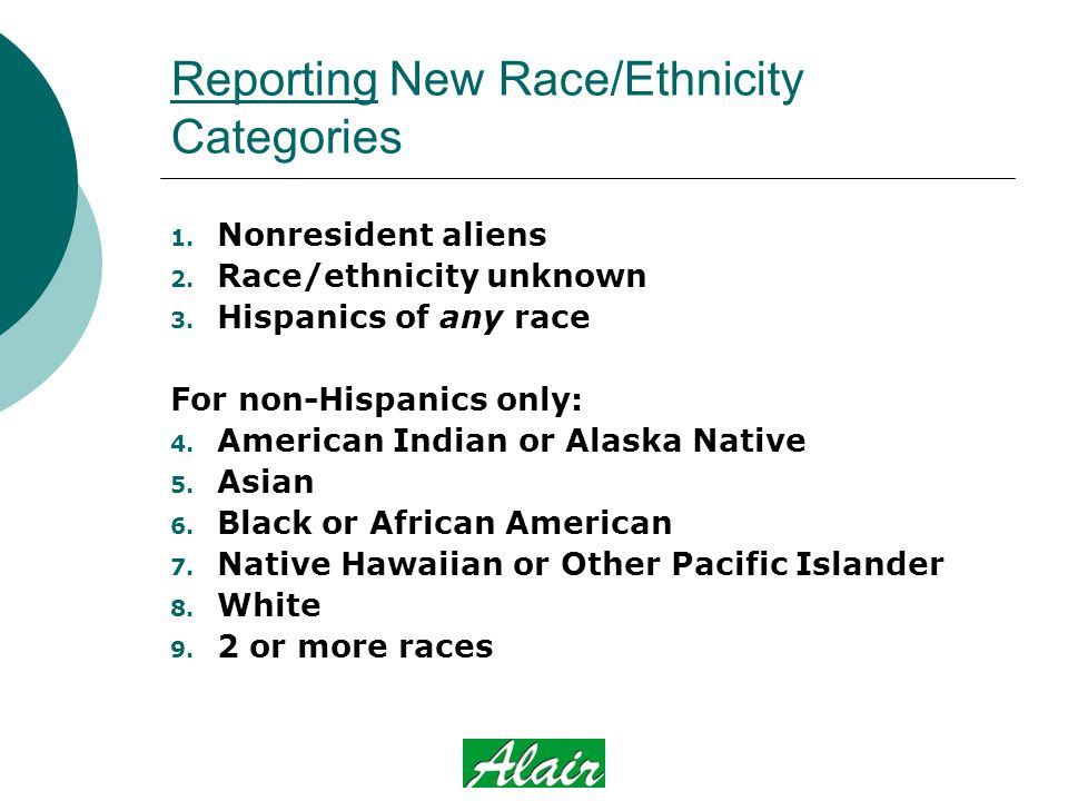 Reporting New Race/Ethnicity Categories 1. Nonresident aliens 2.