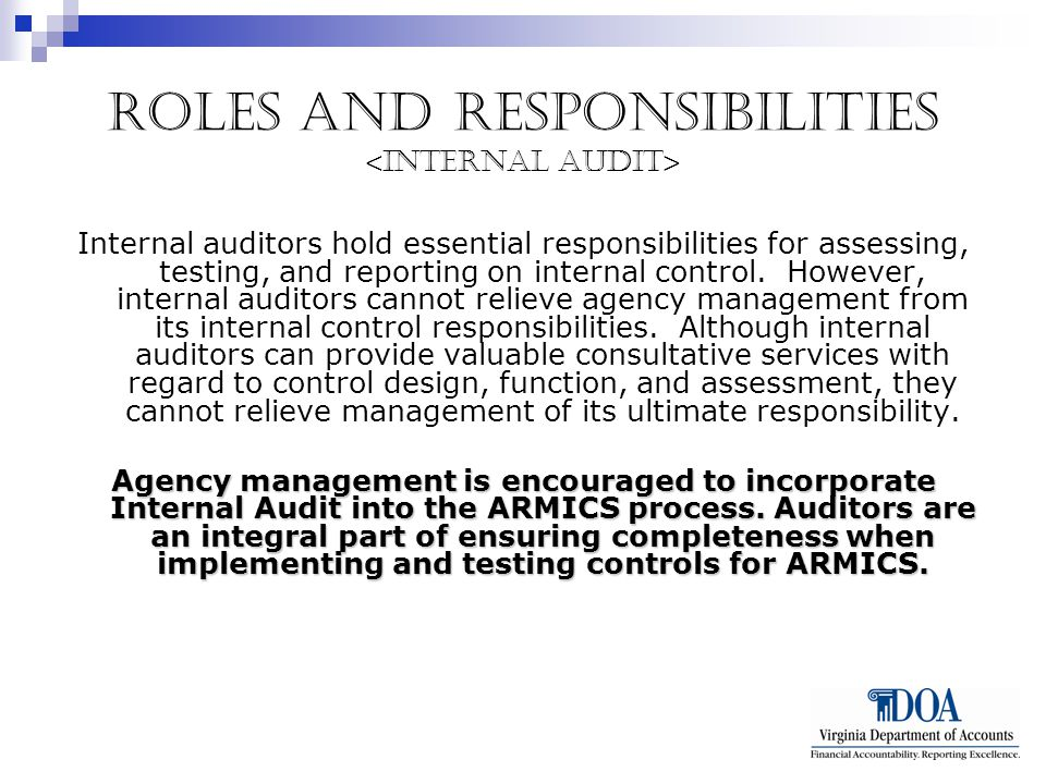 Roles and Responsibilities Internal auditors hold essential responsibilities for assessing, testing, and reporting on internal control.