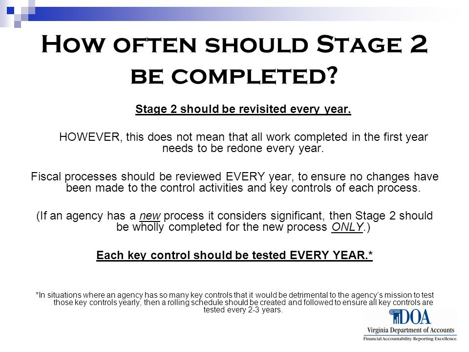 How often should Stage 2 be completed. Stage 2 should be revisited every year.