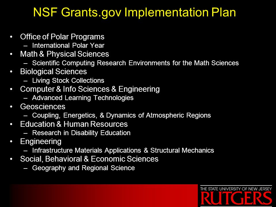 NSF Grants.gov Implementation Plan Programs that must submit through Grants.gov in FY06.