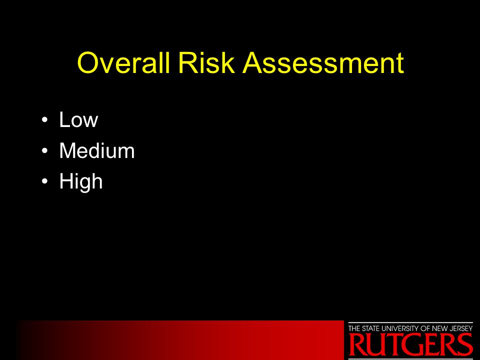 Overall Risk Assessment Low Medium High