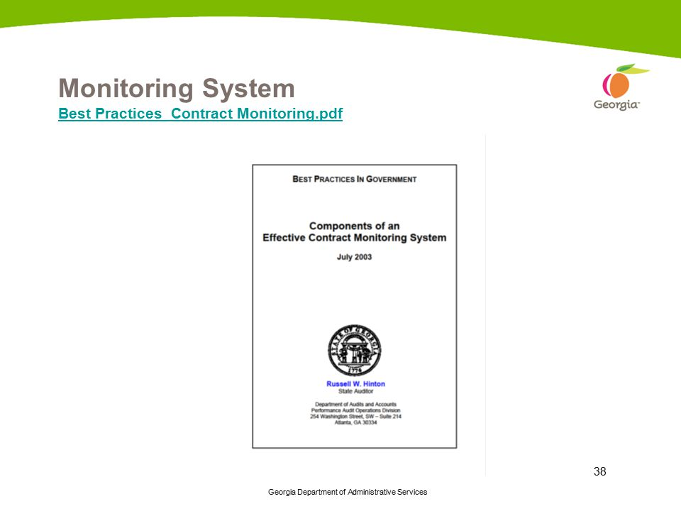 Georgia Department of Administrative Services 38 Monitoring System Best Practices_Contract Monitoring.pdf Best Practices_Contract Monitoring.pdf