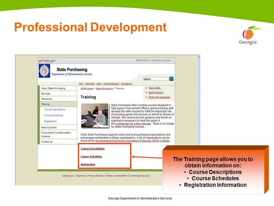 Georgia Department of Administrative Services 6 Georgia Purchasing Curricula & Certifications