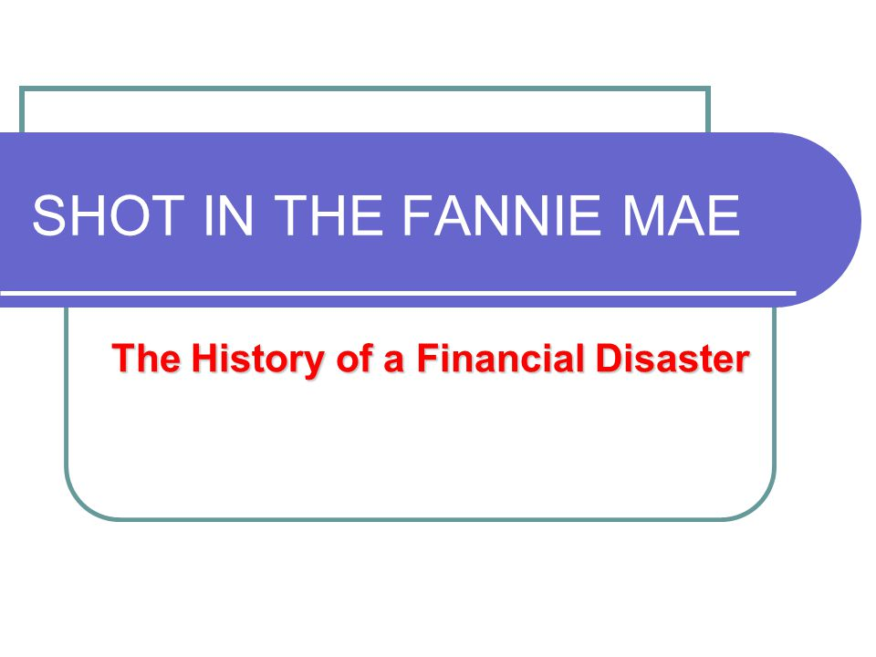 SHOT IN THE FANNIE MAE The History of a Financial Disaster