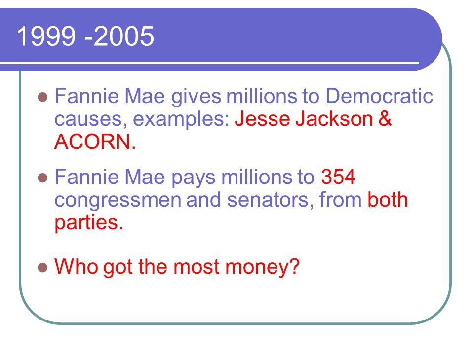 1999 -2005 Fannie Mae gives millions to Democratic causes, examples: Jesse Jackson & ACORN.