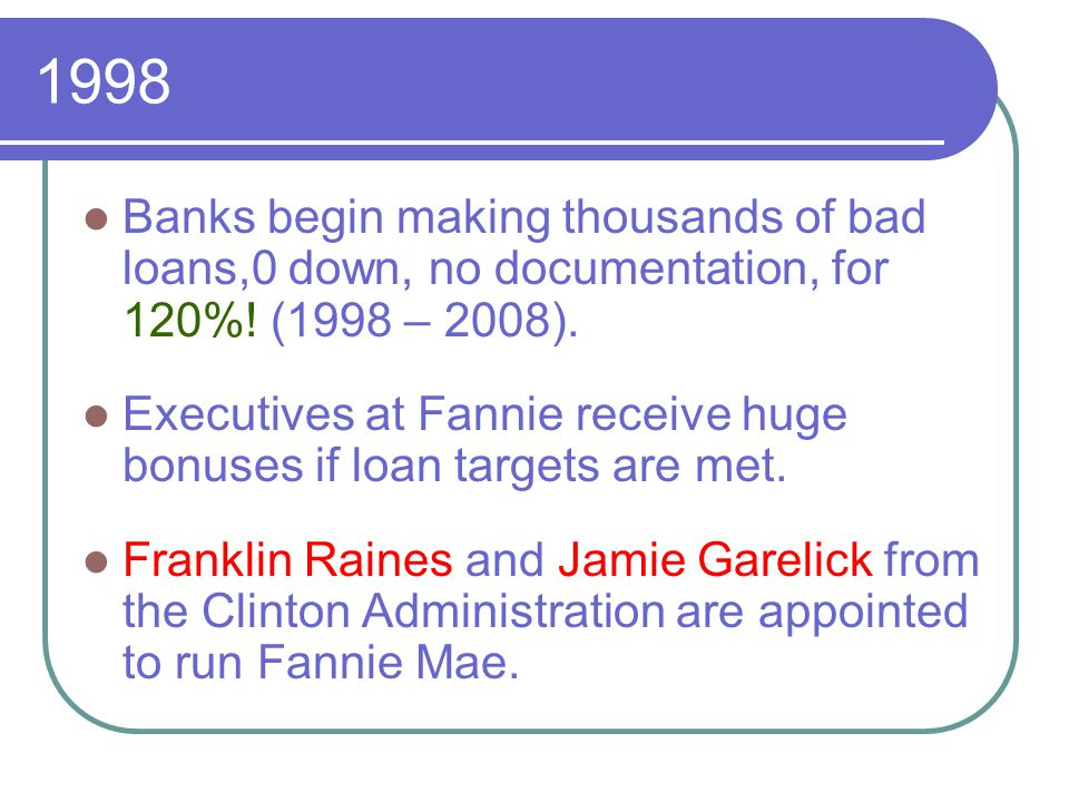 2003 President Bush proposes a new oversight committee to clean up Fannie Mae, but Democrats derail the effort.