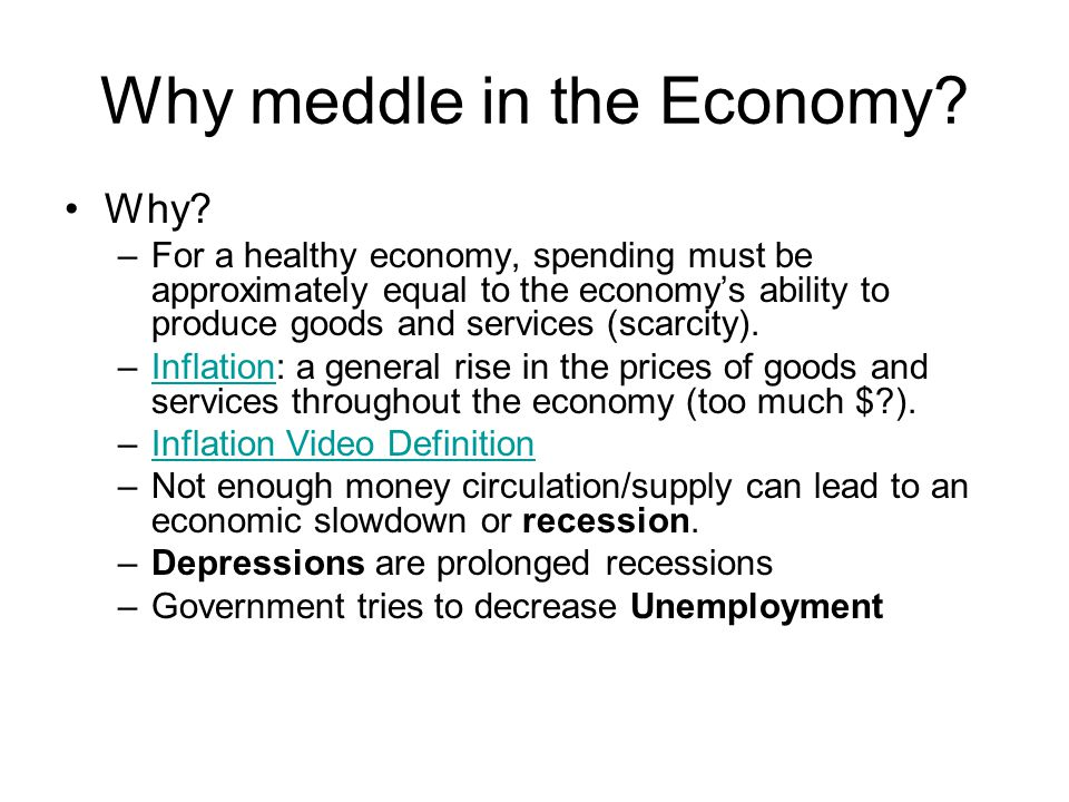 Why meddle in the Economy. Why.