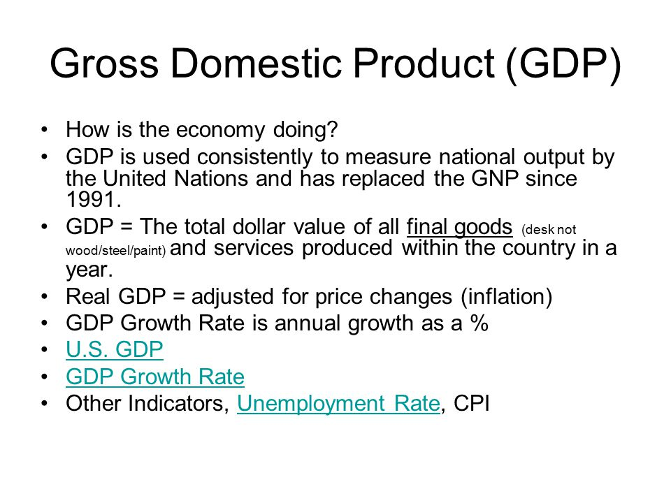 Gross Domestic Product (GDP) How is the economy doing.