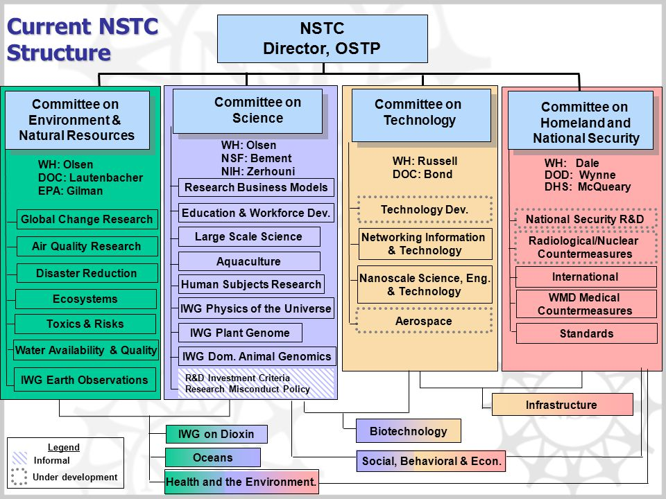 Current NSTC Structure Biotechnology National Security R&D Radiological/Nuclear Countermeasures International Social, Behavioral & Econ. Infrastructur