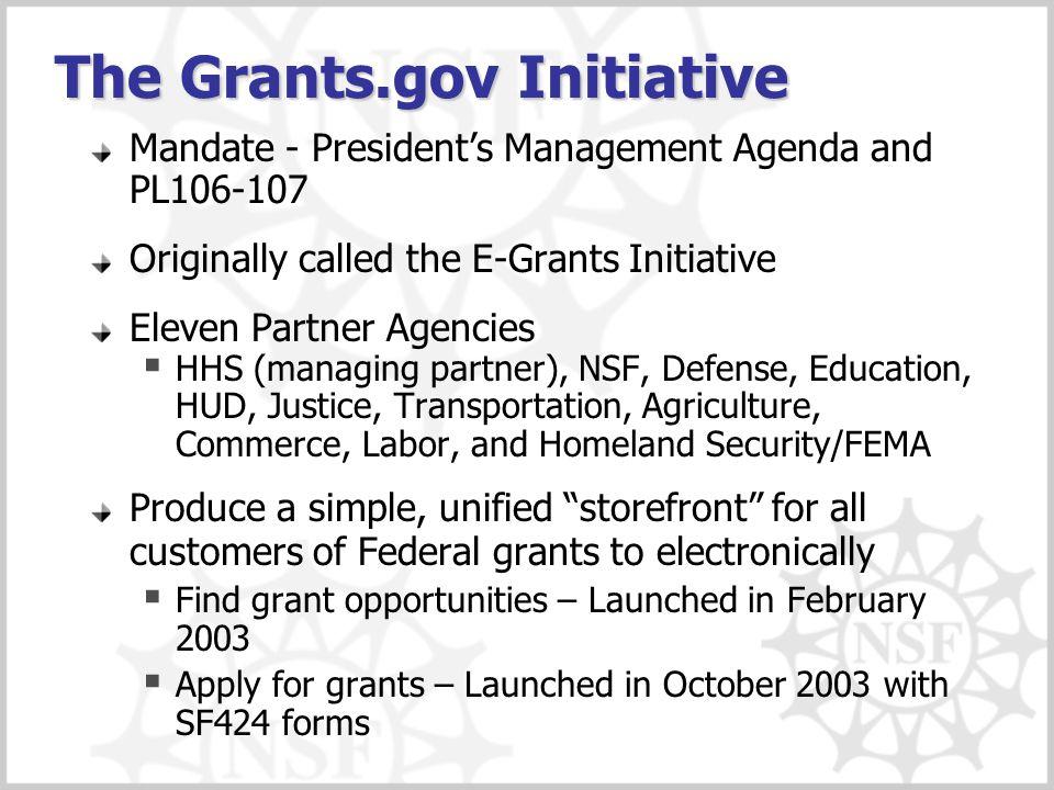 The Grants.gov Initiative Mandate - President's Management Agenda and PL106-107 Originally called the E-Grants Initiative Eleven Partner Agencies  HH