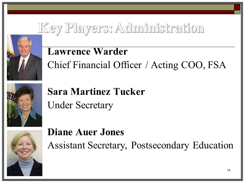 14 Lawrence Warder Chief Financial Officer / Acting COO, FSA Sara Martinez Tucker Under Secretary Diane Auer Jones Assistant Secretary, Postsecondary Education