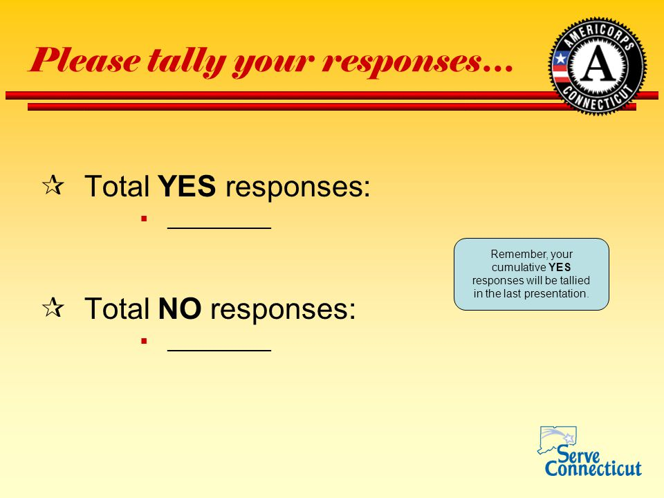 Please tally your responses…  Total YES responses:  __________  Total NO responses:  __________ Remember, your cumulative YES responses will be tallied in the last presentation.