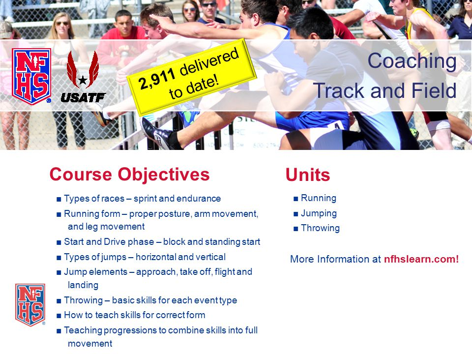 Coaching Track and Field ■ Types of races – sprint and endurance ■ Running form – proper posture, arm movement, and leg movement ■ Start and Drive pha