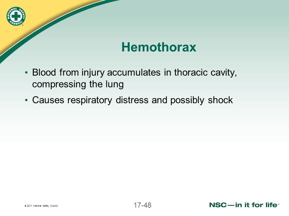 © 2011 National Safety Council 17-48 Hemothorax Blood from injury accumulates in thoracic cavity, compressing the lung Causes respiratory distress and