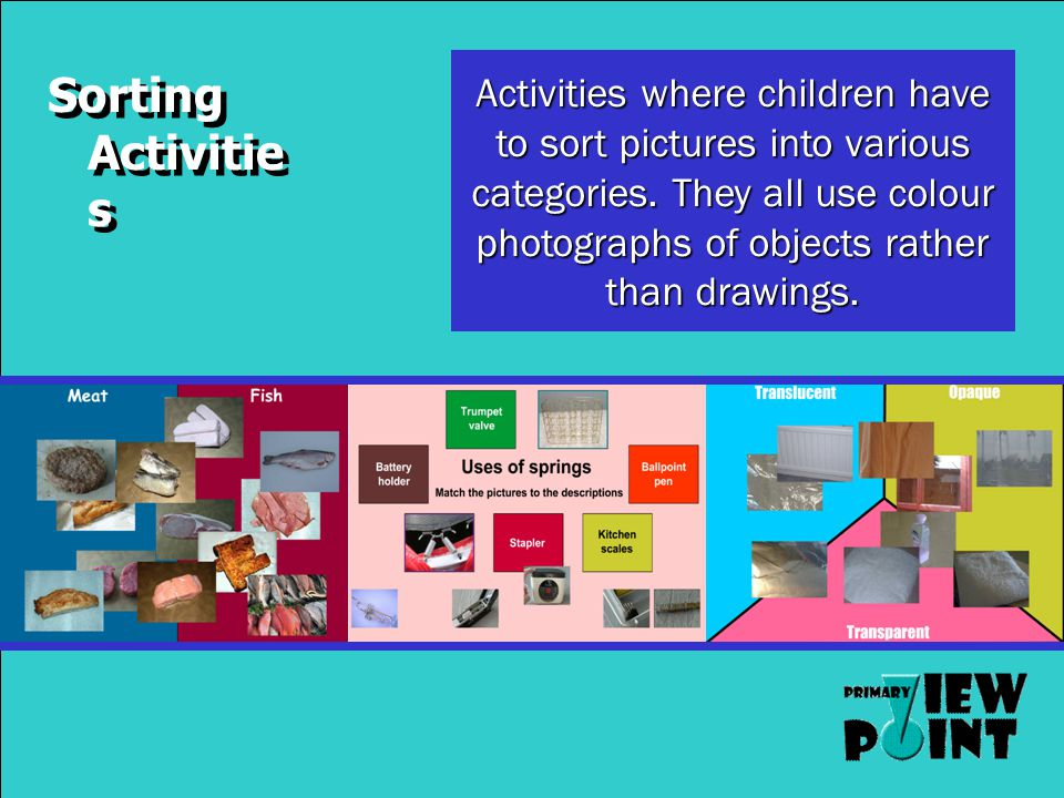 Sorting Activitie s Activities where children have to sort pictures into various categories.