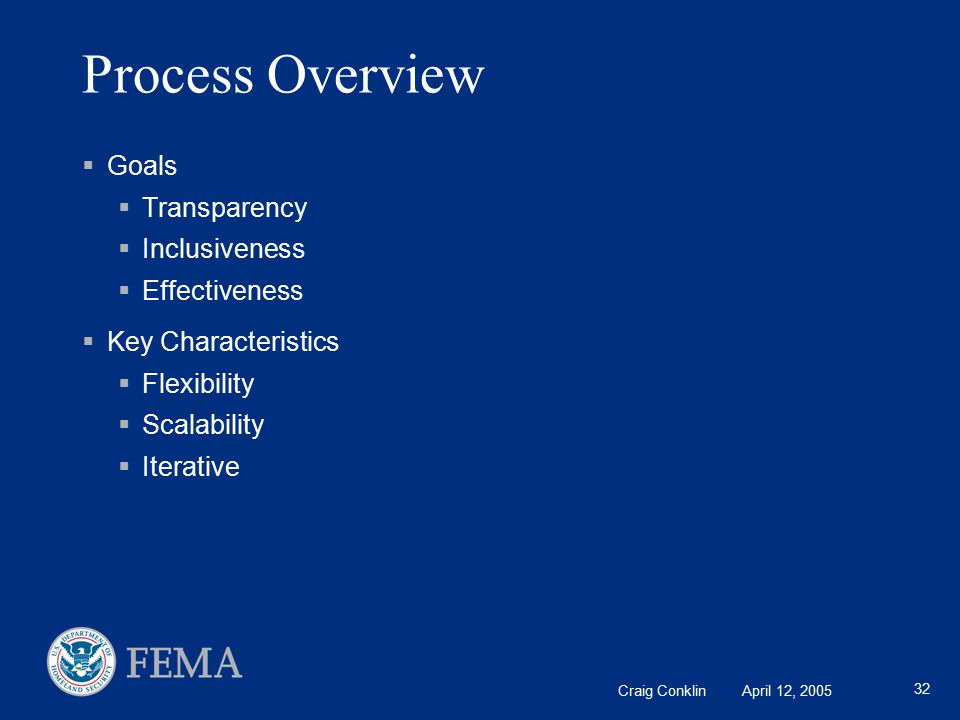 Craig Conklin April 12, 2005 32 Process Overview  Goals  Transparency  Inclusiveness  Effectiveness  Key Characteristics  Flexibility  Scalability  Iterative