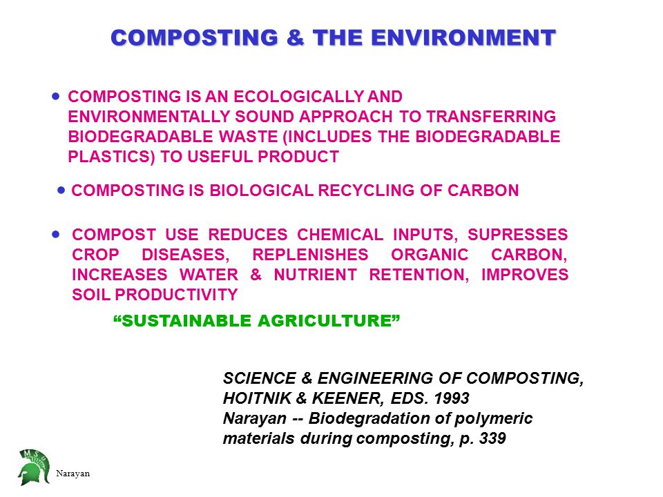 Narayan COMPOSTING & THE ENVIRONMENT  COMPOSTING IS AN ECOLOGICALLY AND ENVIRONMENTALLY SOUND APPROACH TO TRANSFERRING BIODEGRADABLE WASTE (INCLUDES THE BIODEGRADABLE PLASTICS) TO USEFUL PRODUCT  COMPOSTING IS BIOLOGICAL RECYCLING OF CARBON  COMPOST USE REDUCES CHEMICAL INPUTS, SUPRESSES CROP DISEASES, REPLENISHES ORGANIC CARBON, INCREASES WATER & NUTRIENT RETENTION, IMPROVES SOIL PRODUCTIVITY SUSTAINABLE AGRICULTURE SCIENCE & ENGINEERING OF COMPOSTING, HOITNIK & KEENER, EDS.