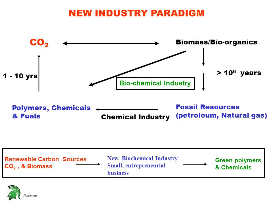 Narayan NEW INDUSTRY PARADIGM CO 2 Biomass/Bio-organics Fossil Resources (petroleum, Natural gas) Polymers, Chemicals & Fuels Chemical Industry Bio-chemical Industry > 10 6 years 1 - 10 yrs Renewable Carbon Sources CO 2, & Biomass New Biochemical Industry Small, entrepreneurial business Green polymers & Chemicals