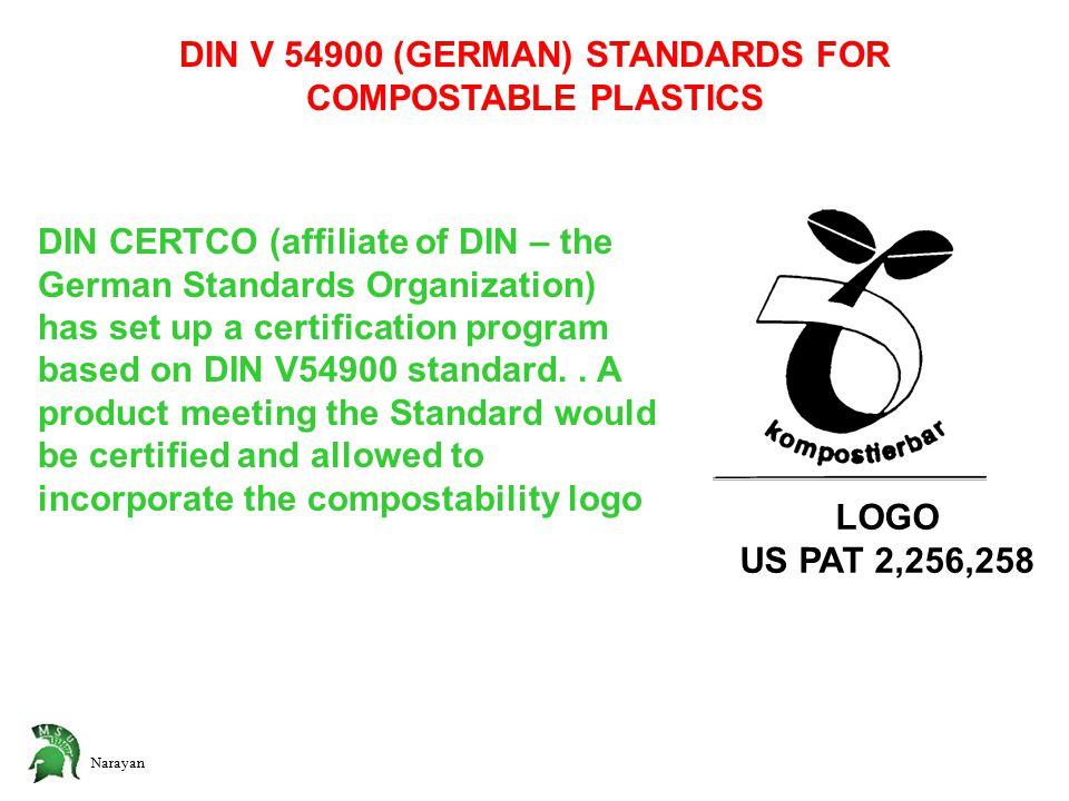 Narayan DIN V 54900 (GERMAN) STANDARDS FOR COMPOSTABLE PLASTICS DIN CERTCO (affiliate of DIN – the German Standards Organization) has set up a certification program based on DIN V54900 standard..