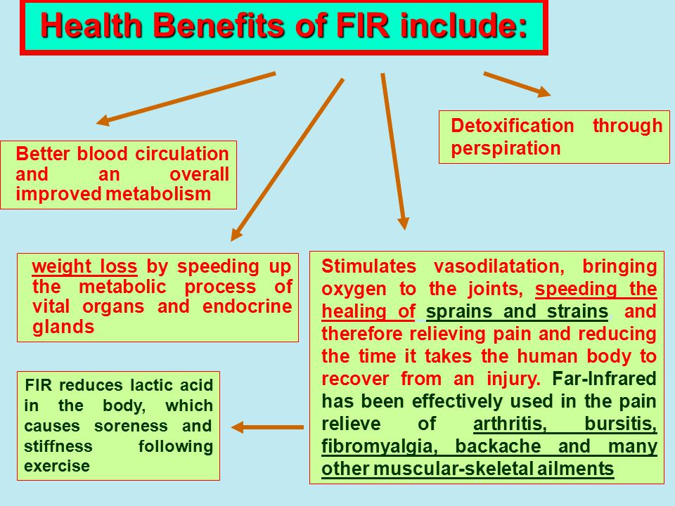 Health Benefits of FIR include: weight loss by speeding up the metabolic process of vital organs and endocrine glands Stimulates vasodilatation, bring