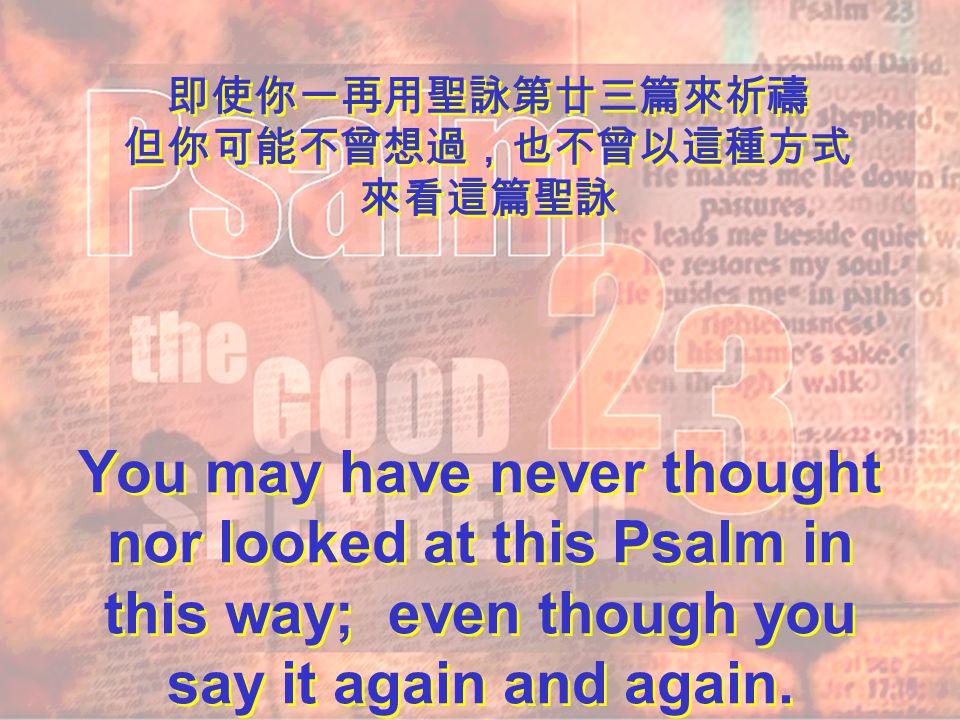 聖詠第廿三篇 上主是善牧 新解新解