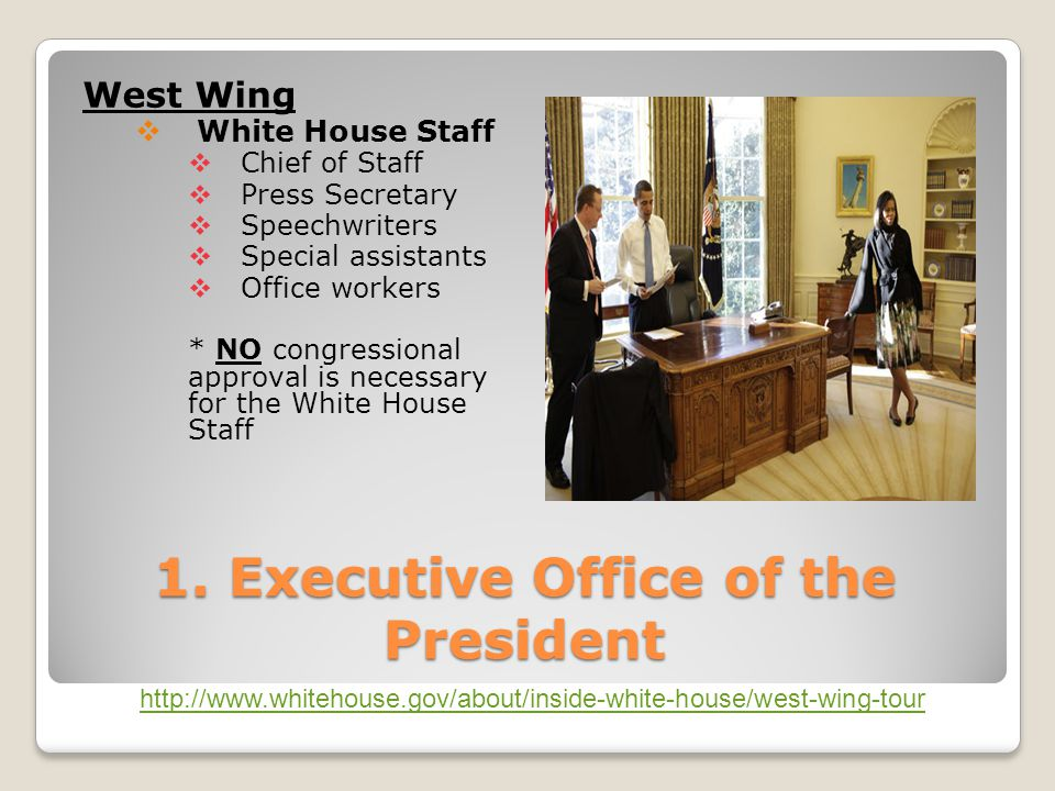 1. Executive Office of the President West Wing  White House Staff  Chief of Staff  Press Secretary  Speechwriters  Special assistants  Office wo