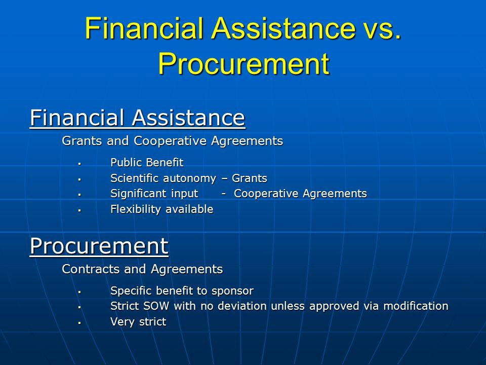 Financial Assistance vs.