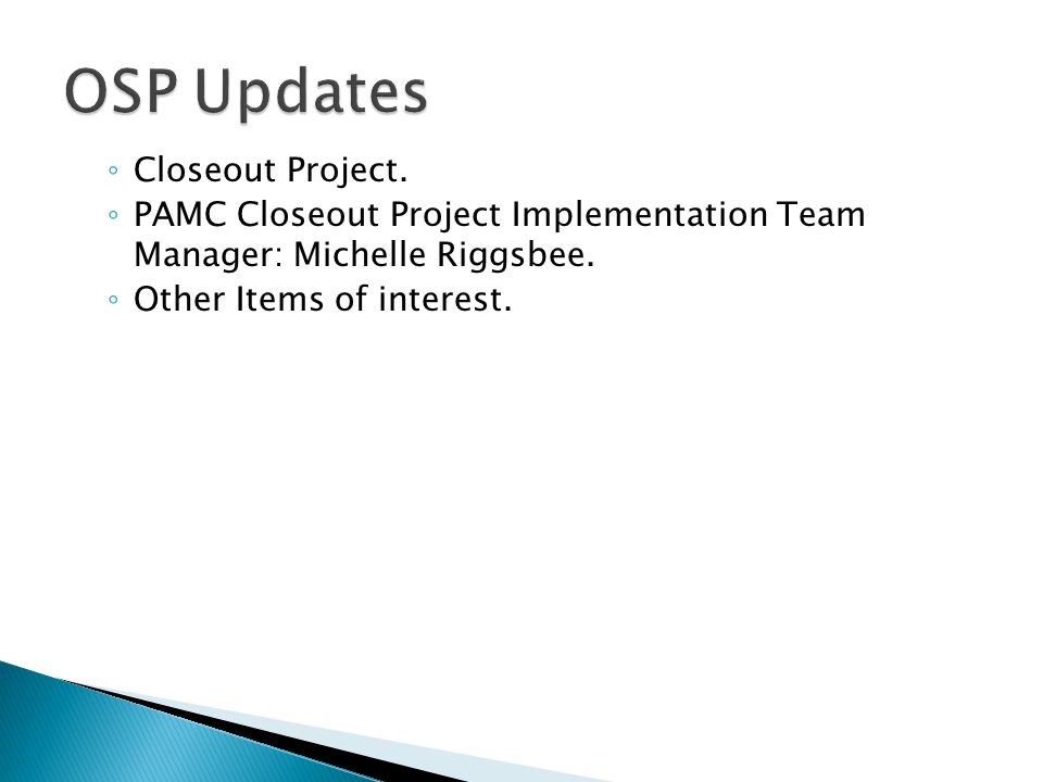 ◦ Closeout Project. ◦ PAMC Closeout Project Implementation Team Manager: Michelle Riggsbee.