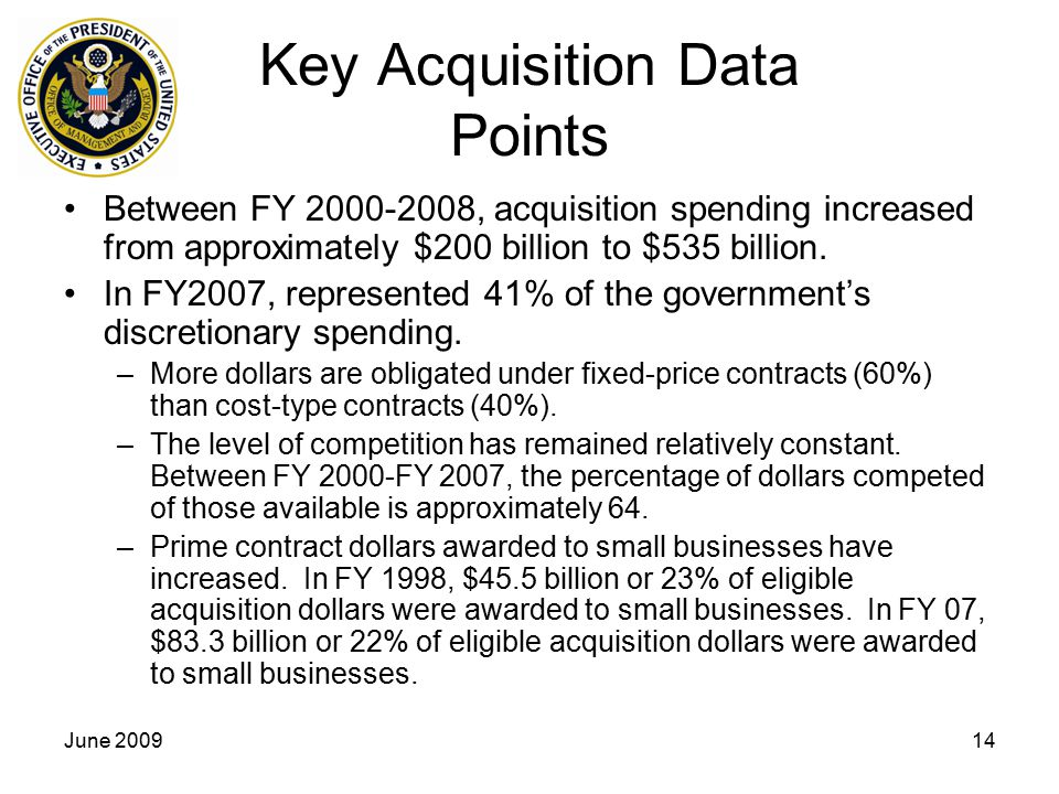 June 200914 Key Acquisition Data Points Between FY 2000-2008, acquisition spending increased from approximately $200 billion to $535 billion.