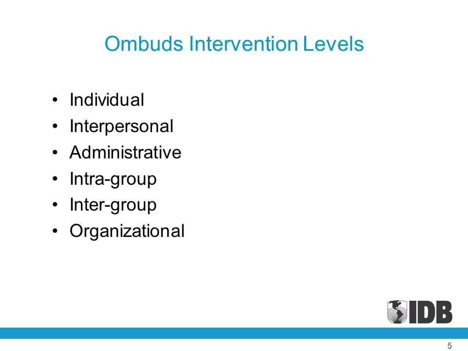Ombuds Intervention Levels Individual Interpersonal Administrative Intra-group Inter-group Organizational 5