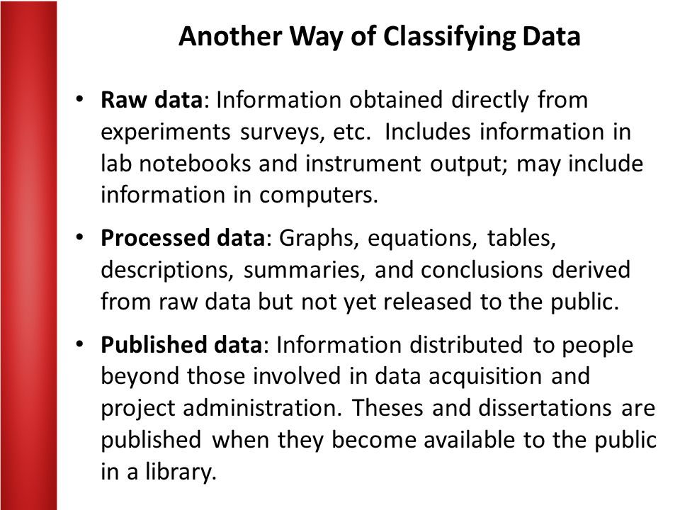 Another Way of Classifying Data Raw data: Information obtained directly from experiments surveys, etc.