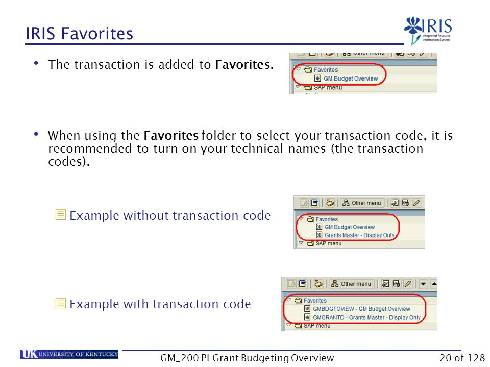 IRIS Favorites Using your Favorites folder is the recommended way to access transactions.