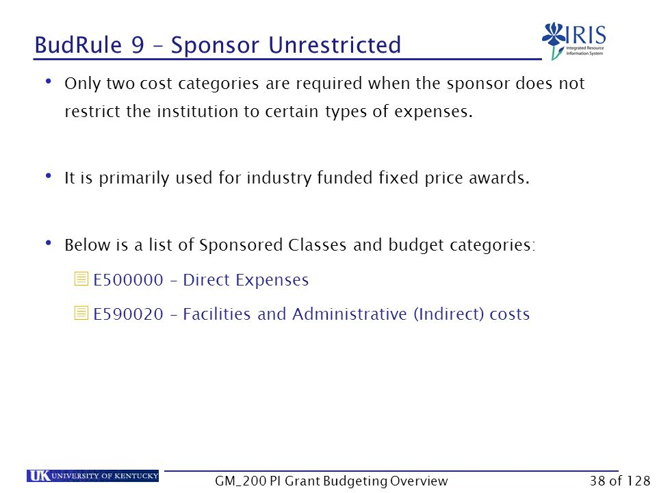 Terminology Budget Rule  It identifies the template of budgeted sponsored classes used to meet the requirements of different sponsors.