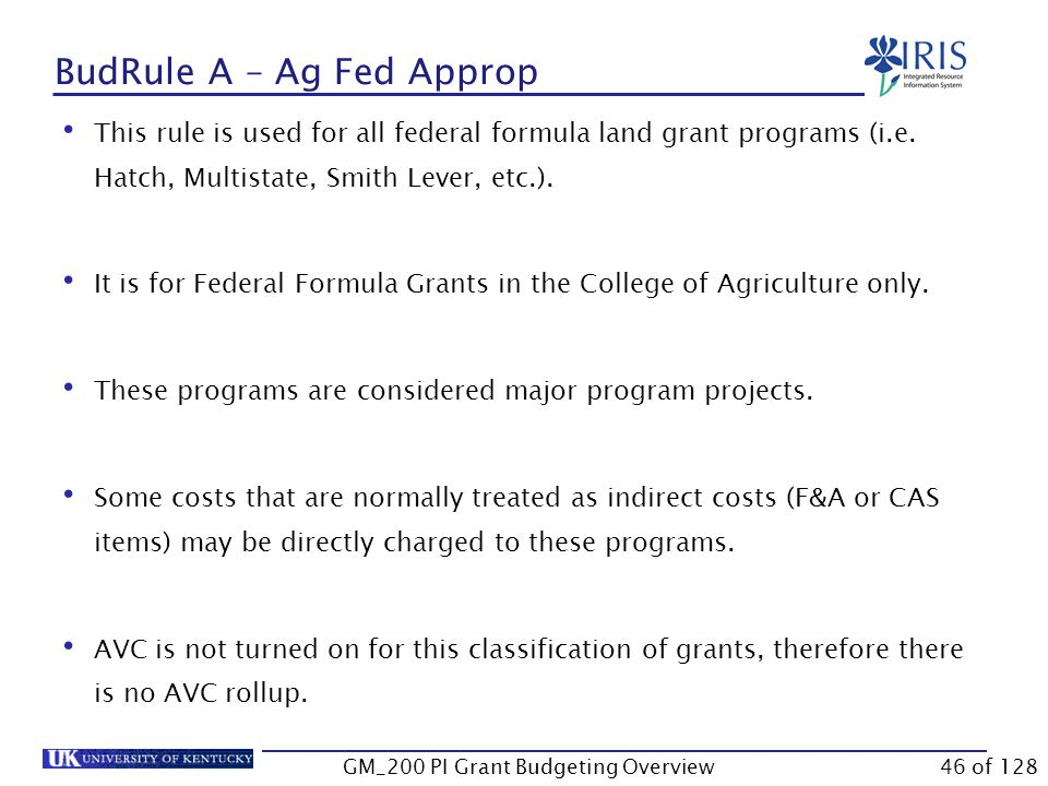 BudRule 4 Training Grant – AVC Roll-Up GM_200 PI Grant Budgeting Overview45 of 128