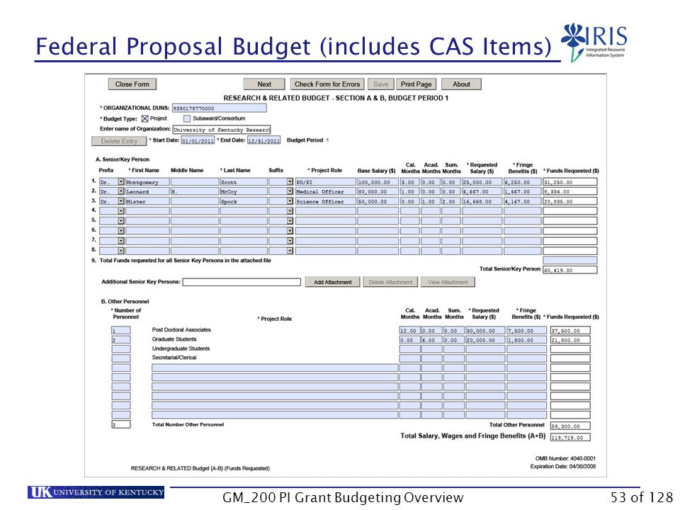 Federal Proposal Budget (includes CAS Items) This is the SF424 form used on NIH applications.