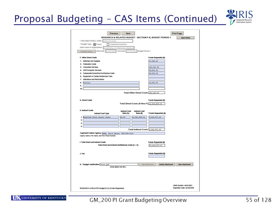 Proposal Budgeting – CAS Items (Continued) GM_200 PI Grant Budgeting Overview54 of 128